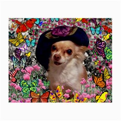 Chi Chi In Butterflies, Chihuahua Dog In Cute Hat Small Glasses Cloth (2-side) by DianeClancy
