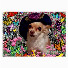 Chi Chi In Butterflies, Chihuahua Dog In Cute Hat Large Glasses Cloth by DianeClancy
