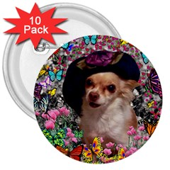 Chi Chi In Butterflies, Chihuahua Dog In Cute Hat 3  Buttons (10 Pack)  by DianeClancy