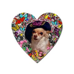 Chi Chi In Butterflies, Chihuahua Dog In Cute Hat Heart Magnet by DianeClancy