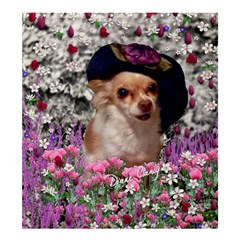 Chi Chi In Flowers, Chihuahua Puppy In Cute Hat Shower Curtain 66  X 72  (large)  by DianeClancy
