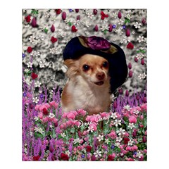 Chi Chi In Flowers, Chihuahua Puppy In Cute Hat Shower Curtain 60  X 72  (medium)  by DianeClancy