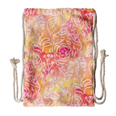 Sunny Floral Watercolor Drawstring Bag (large) by KirstenStar