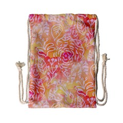 Sunny Floral Watercolor Drawstring Bag (small) by KirstenStar