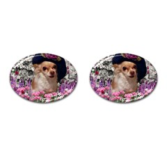 Chi Chi In Flowers, Chihuahua Puppy In Cute Hat Cufflinks (oval) by DianeClancy