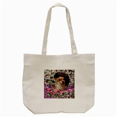 Chi Chi In Flowers, Chihuahua Puppy In Cute Hat Tote Bag (cream) by DianeClancy