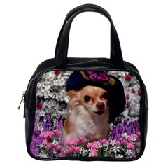 Chi Chi In Flowers, Chihuahua Puppy In Cute Hat Classic Handbags (one Side) by DianeClancy