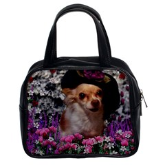 Chi Chi In Flowers, Chihuahua Puppy In Cute Hat Classic Handbags (2 Sides) by DianeClancy