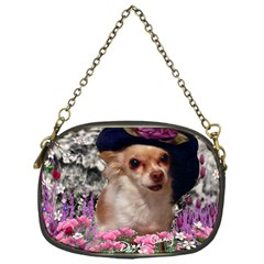 Chi Chi In Flowers, Chihuahua Puppy In Cute Hat Chain Purses (one Side)  by DianeClancy