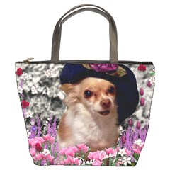 Chi Chi In Flowers, Chihuahua Puppy In Cute Hat Bucket Bags by DianeClancy