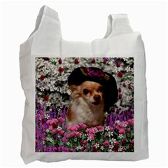 Chi Chi In Flowers, Chihuahua Puppy In Cute Hat Recycle Bag (one Side) by DianeClancy