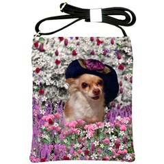 Chi Chi In Flowers, Chihuahua Puppy In Cute Hat Shoulder Sling Bags by DianeClancy