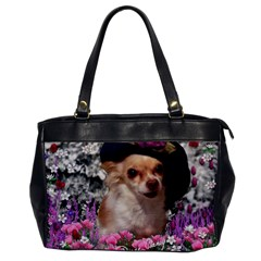 Chi Chi In Flowers, Chihuahua Puppy In Cute Hat Office Handbags by DianeClancy