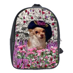 Chi Chi In Flowers, Chihuahua Puppy In Cute Hat School Bags (xl)  by DianeClancy