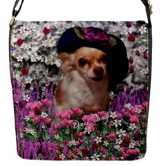 Chi Chi In Flowers, Chihuahua Puppy In Cute Hat Flap Messenger Bag (s) by DianeClancy
