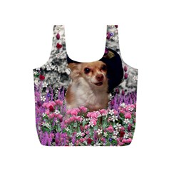 Chi Chi In Flowers, Chihuahua Puppy In Cute Hat Full Print Recycle Bags (s)  by DianeClancy