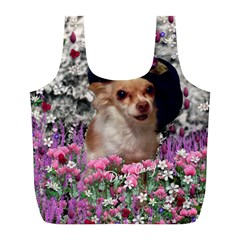 Chi Chi In Flowers, Chihuahua Puppy In Cute Hat Full Print Recycle Bags (l)  by DianeClancy