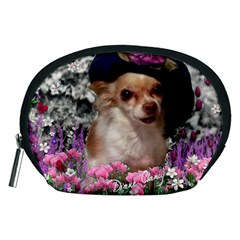 Chi Chi In Flowers, Chihuahua Puppy In Cute Hat Accessory Pouches (medium)  by DianeClancy