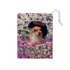 Chi Chi In Flowers, Chihuahua Puppy In Cute Hat Drawstring Pouches (medium)  by DianeClancy
