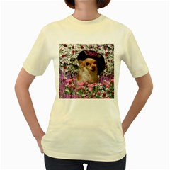 Chi Chi In Flowers, Chihuahua Puppy In Cute Hat Women s Yellow T-shirt by DianeClancy