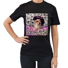 Chi Chi In Flowers, Chihuahua Puppy In Cute Hat Women s T-shirt (black) (two Sided) by DianeClancy