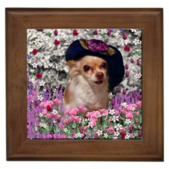 Chi Chi In Flowers, Chihuahua Puppy In Cute Hat Framed Tiles by DianeClancy