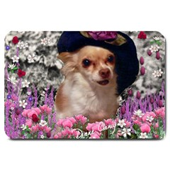 Chi Chi In Flowers, Chihuahua Puppy In Cute Hat Large Doormat  by DianeClancy