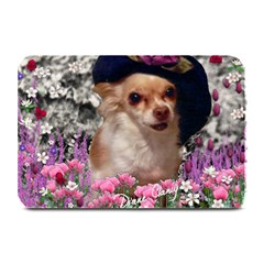 Chi Chi In Flowers, Chihuahua Puppy In Cute Hat Plate Mats by DianeClancy