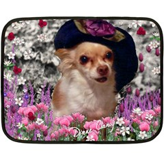 Chi Chi In Flowers, Chihuahua Puppy In Cute Hat Fleece Blanket (mini) by DianeClancy