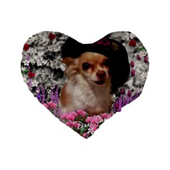Chi Chi In Flowers, Chihuahua Puppy In Cute Hat Standard 16  Premium Heart Shape Cushions by DianeClancy