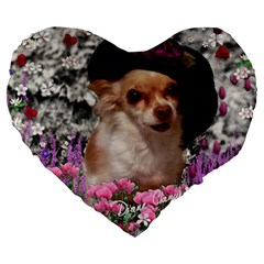 Chi Chi In Flowers, Chihuahua Puppy In Cute Hat Large 19  Premium Heart Shape Cushions by DianeClancy