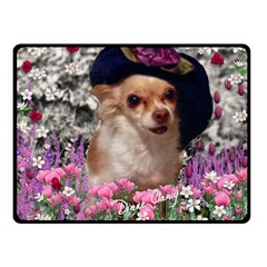 Chi Chi In Flowers, Chihuahua Puppy In Cute Hat Double Sided Fleece Blanket (small)  by DianeClancy
