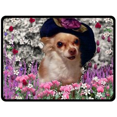 Chi Chi In Flowers, Chihuahua Puppy In Cute Hat Double Sided Fleece Blanket (large)  by DianeClancy