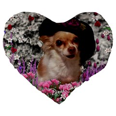 Chi Chi In Flowers, Chihuahua Puppy In Cute Hat Large 19  Premium Flano Heart Shape Cushions by DianeClancy