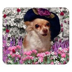 Chi Chi In Flowers, Chihuahua Puppy In Cute Hat Double Sided Flano Blanket (small)  by DianeClancy
