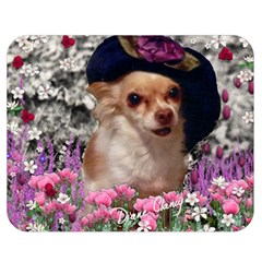 Chi Chi In Flowers, Chihuahua Puppy In Cute Hat Double Sided Flano Blanket (medium)  by DianeClancy