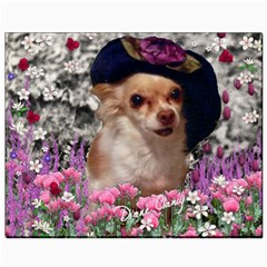 Chi Chi In Flowers, Chihuahua Puppy In Cute Hat Canvas 8  X 10  by DianeClancy