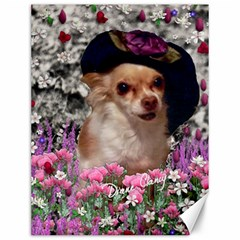 Chi Chi In Flowers, Chihuahua Puppy In Cute Hat Canvas 12  X 16   by DianeClancy
