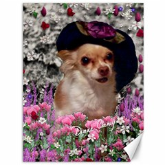 Chi Chi In Flowers, Chihuahua Puppy In Cute Hat Canvas 36  X 48   by DianeClancy