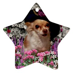 Chi Chi In Flowers, Chihuahua Puppy In Cute Hat Star Ornament (two Sides)  by DianeClancy
