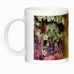 Chi Chi In Flowers, Chihuahua Puppy In Cute Hat Night Luminous Mugs by DianeClancy