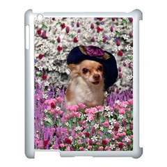 Chi Chi In Flowers, Chihuahua Puppy In Cute Hat Apple Ipad 3/4 Case (white) by DianeClancy
