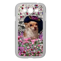 Chi Chi In Flowers, Chihuahua Puppy In Cute Hat Samsung Galaxy Grand Duos I9082 Case (white) by DianeClancy