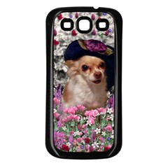 Chi Chi In Flowers, Chihuahua Puppy In Cute Hat Samsung Galaxy S3 Back Case (black) by DianeClancy