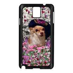 Chi Chi In Flowers, Chihuahua Puppy In Cute Hat Samsung Galaxy Note 3 N9005 Case (black) by DianeClancy