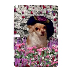 Chi Chi In Flowers, Chihuahua Puppy In Cute Hat Samsung Galaxy Note 10 1 (p600) Hardshell Case by DianeClancy