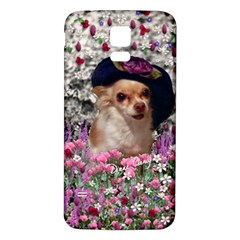 Chi Chi In Flowers, Chihuahua Puppy In Cute Hat Samsung Galaxy S5 Back Case (white) by DianeClancy