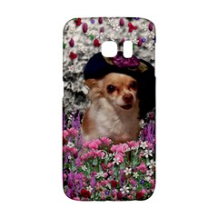 Chi Chi In Flowers, Chihuahua Puppy In Cute Hat Galaxy S6 Edge by DianeClancy
