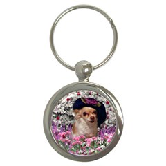 Chi Chi In Flowers, Chihuahua Puppy In Cute Hat Key Chains (round)  by DianeClancy