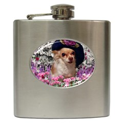Chi Chi In Flowers, Chihuahua Puppy In Cute Hat Hip Flask (6 Oz) by DianeClancy